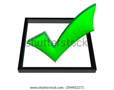3D green check mark in box isolated white background
