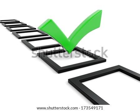 3d green check mark symbol - stock photo