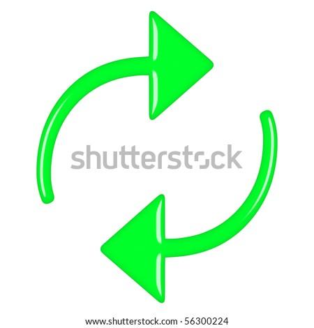 3d green circular arrows - stock photo