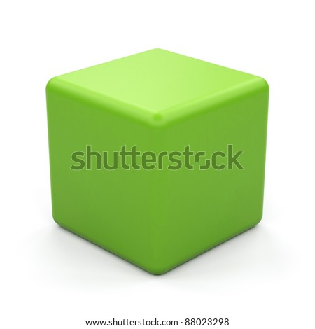 3d green cube isolated. - stock photo