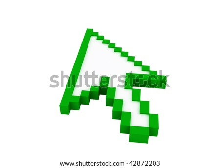 3d green cursor isolated on white background - stock photo
