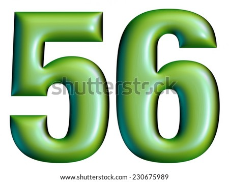 3D green digit number collection - 5 & 6 - stock photo