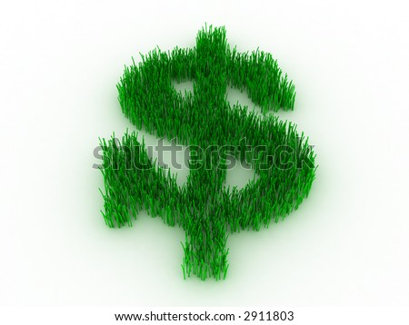 3d--green dollar - stock photo