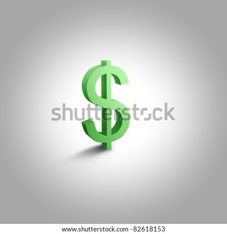 3d Green Dollar Sign - stock photo