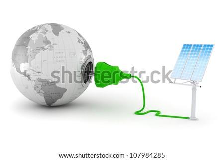 3d, green energy concept - stock photo