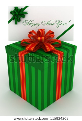 3D green Gift christmas box with new year postal, envelope - stock photo