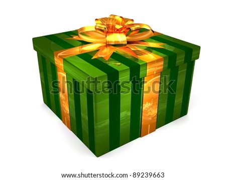 3D green Gift cristmas box on the white - stock photo
