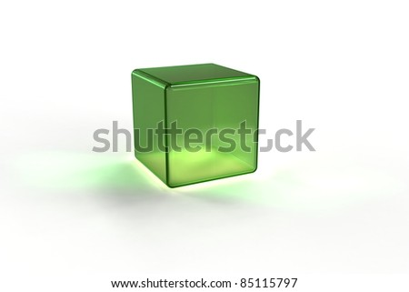 3d green glass cube - stock photo