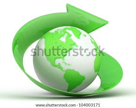 3d green globe with arrow - stock photo