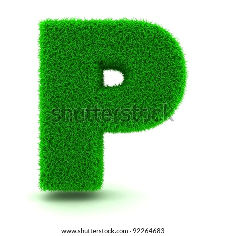 3D Green Grass Letter on White Background - stock photo