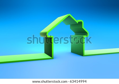 3D Green Home - stock photo
