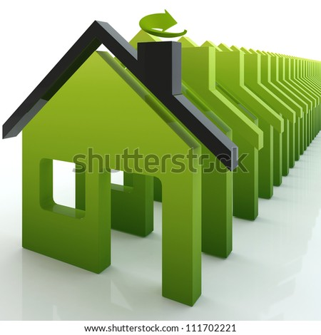 3d green house ecology colony - stock photo