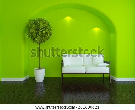 3d green interior of a arch