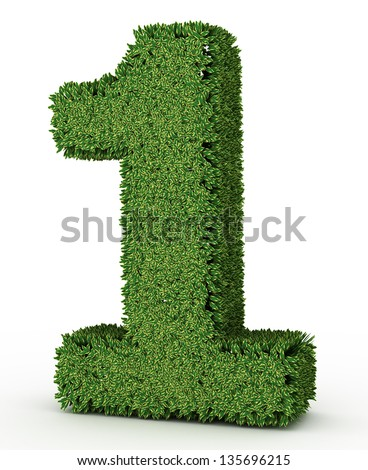 3D Green leaves number on White Background - stock photo