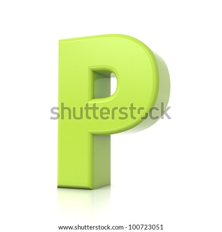 3D green letter collection - P - stock photo
