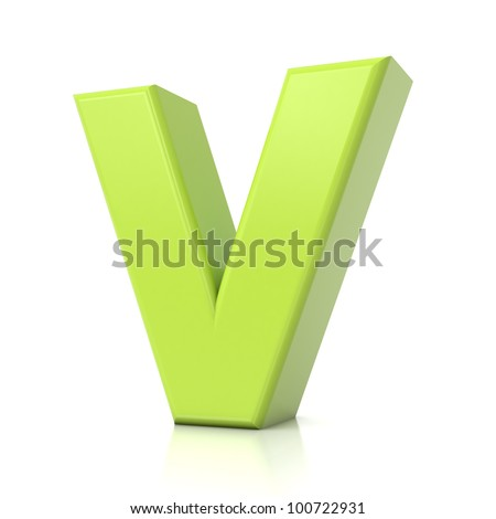 3D green letter collection - V - stock photo