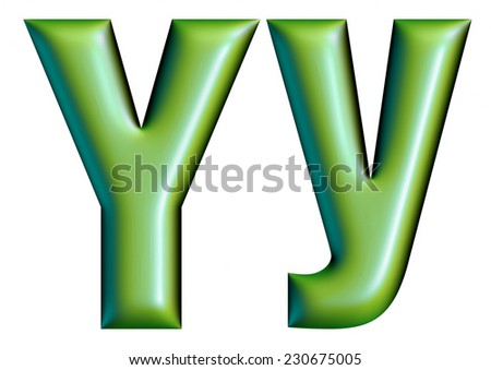 3D green letter collection - Y  - stock photo