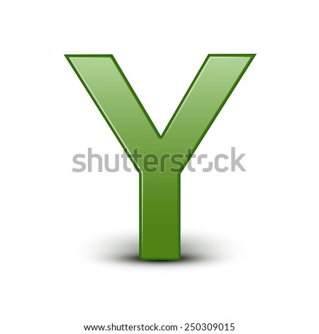3d green letter Y isolated on white background - stock photo