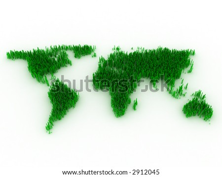 3d--green map--lawn - stock photo