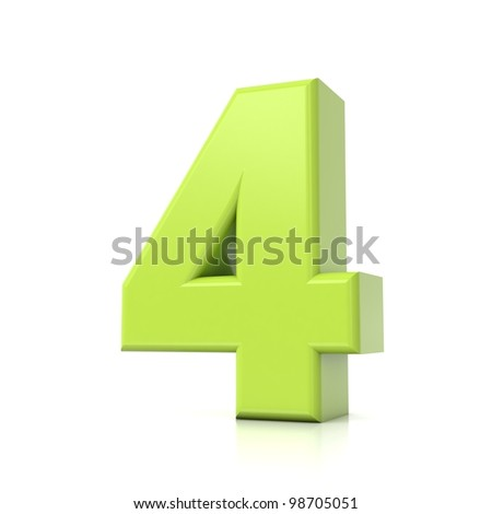 3D green number collection - 4