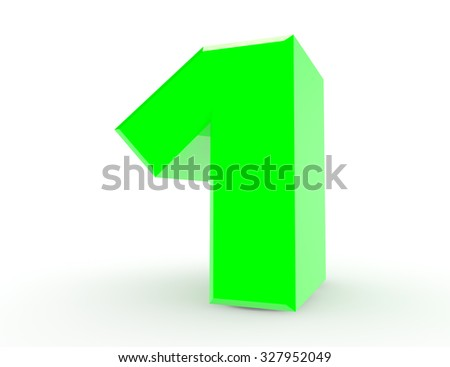 3d Green number 1 on white background 3d rendering