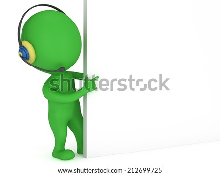 3d green people manager peeking from behind and points finger isolated on white render.