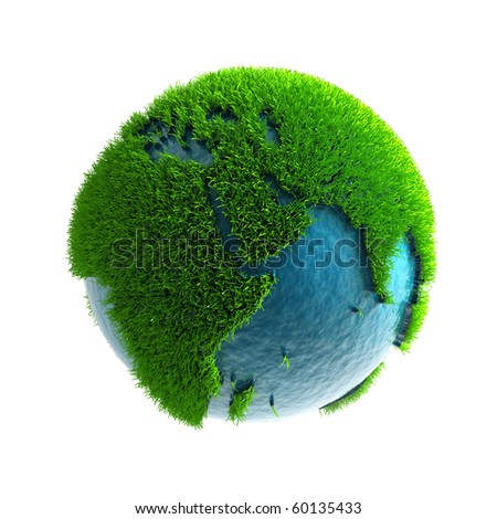 3D green planet Africa - stock photo
