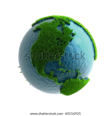 3D Green Planet America - stock photo