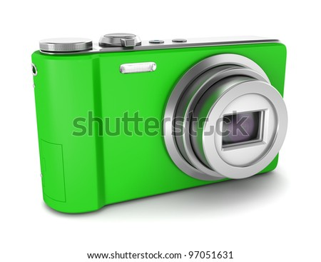 3d green point and shoot photo camera isolated on white background