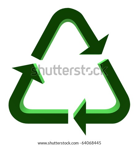 3D green recycle symbol on a white background - stock photo