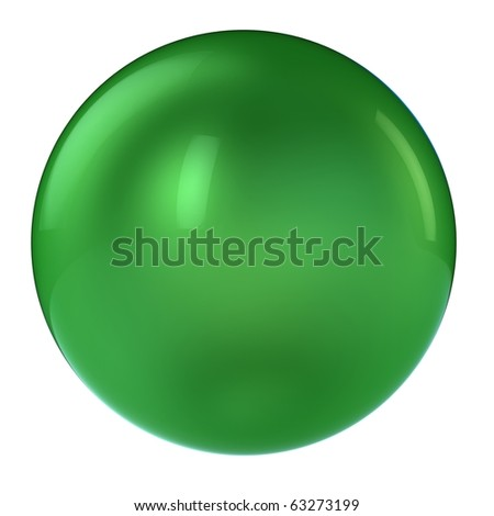 3d green sphere isolated on white