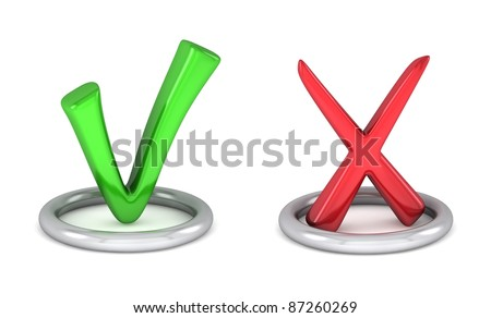 3d green tick sign and Red cancel check mark - stock photo