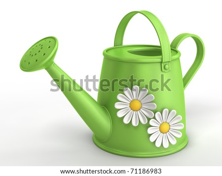 3D green watering can with camomiles - stock photo