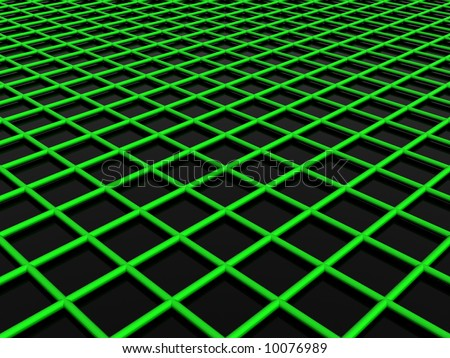 3d green web slightly above the black floor