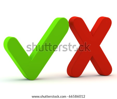 3d green yes check mark and red no - stock photo
