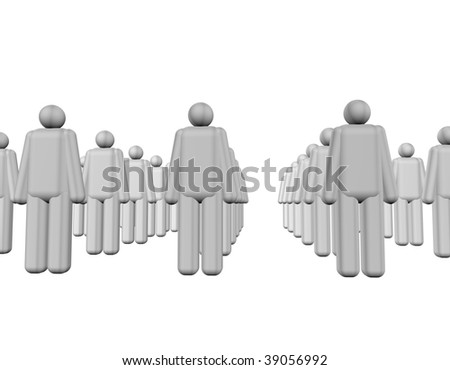 3d grey people on the white background.