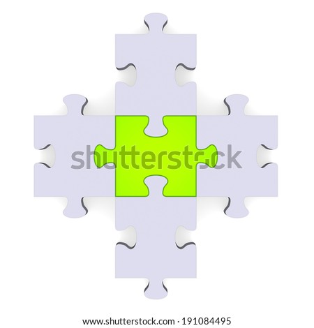 3d grey puzzle forming plus symbol isolated on white, green center