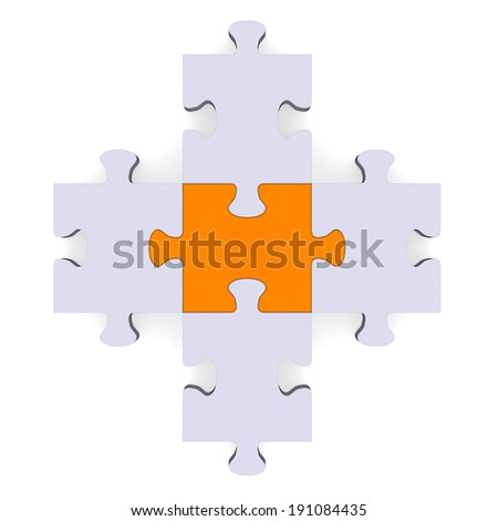 3d grey puzzle forming plus symbol isolated on white, orange center - stock photo