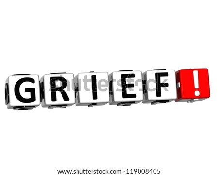 3D Grief Button Click Here Block Text over white background - stock photo