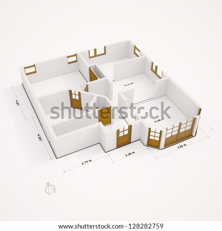 3D ground plan with walls on white ground - stock photo