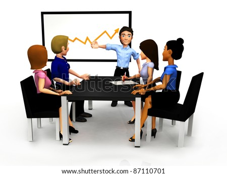 3D Group in a meeting looking at the growth of the business in a graph - isolated - stock photo