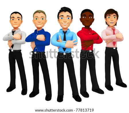 3D group of business men - isolated over a white background - stock photo