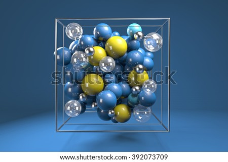 3d group of colorful glossy spheres in chrome wire cube. Bright blue and yellow plastic balls with transparent bubbles and metal spheres. Centered composition on blue background.  - stock photo