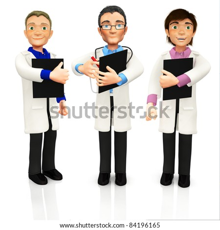 3D group of doctors with a stethoscope and clipboards - isolated over a white background - stock photo