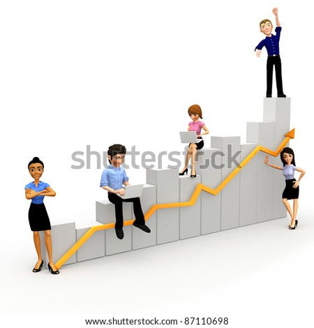 3D Group of the corporate people with a business growth chart - stock photo