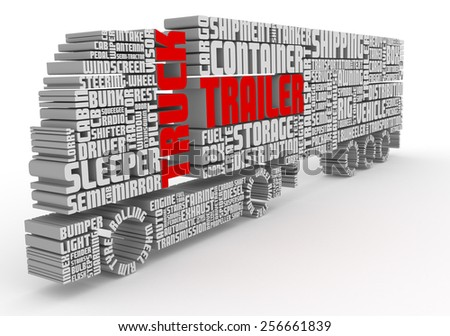 3d group of words shaping a truck with trailer and with red text front view - stock photo
