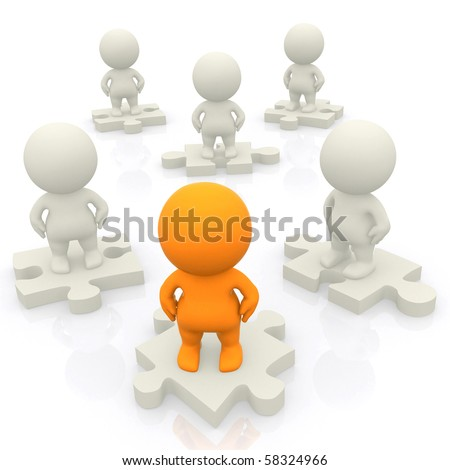 3D group standing on pieces of a puzzle isolated over a white backgound - stock photo