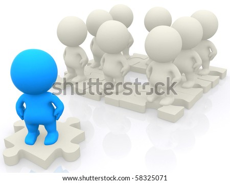 3D group standing together on pieces of a puzzle isolated over a white backgound - stock photo