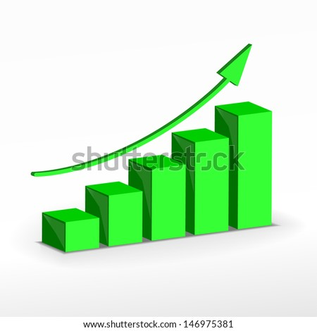 3D Growth bar graph. Business concept. Raster version. Vector version available in my portfolio. - stock photo