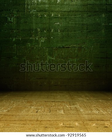 3d grunge concrete wall, green texture interior